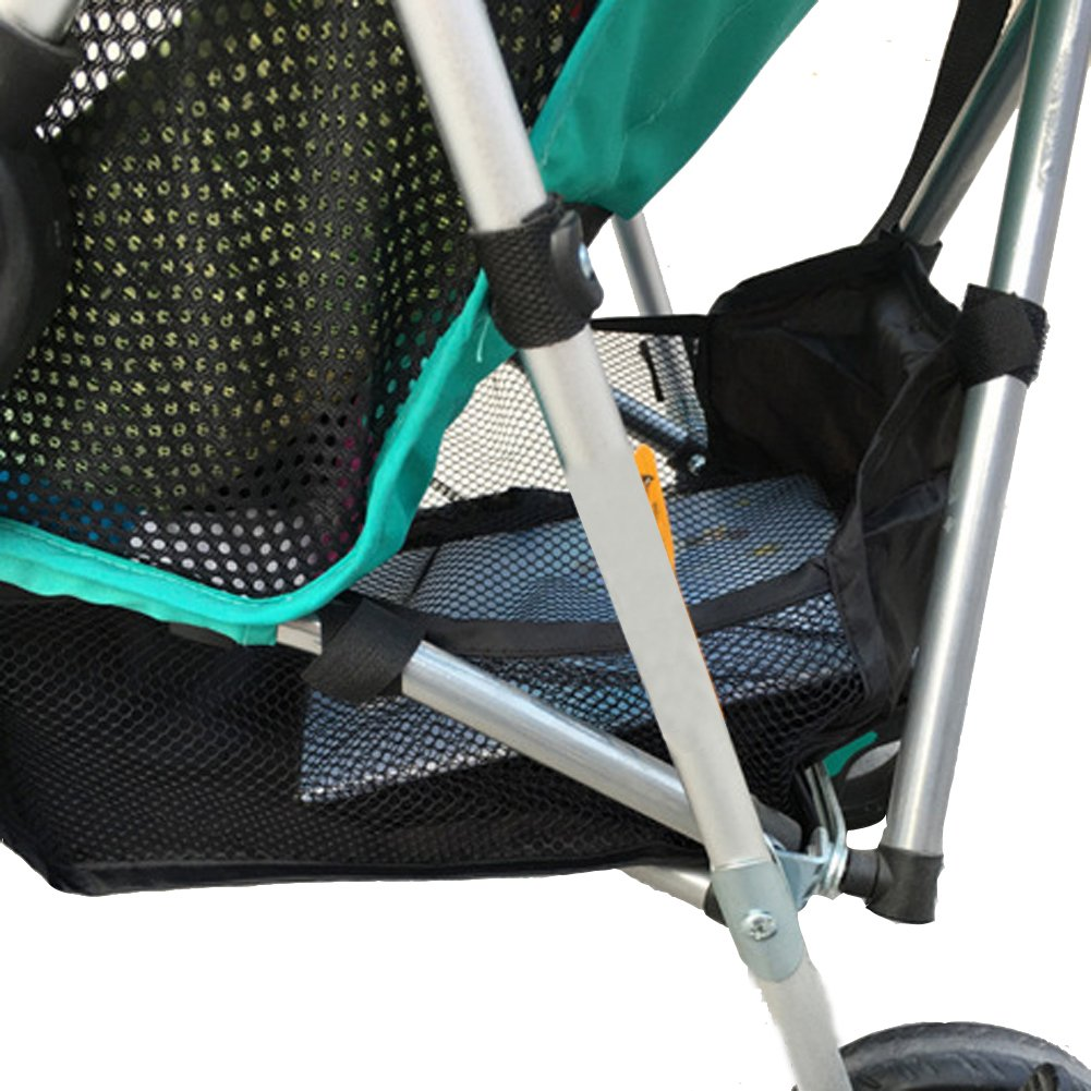 Chinatera Stroller Attachable Bottom Basket Storage Bag Mesh Netting Accessories Carrying Organizer (Black)