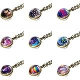 NDJEWELRY Solar System Necklace Nebula Galaxy Planet Pendant Double Side Glass Crystal Ball Universe Necklace Handmade Jewelr