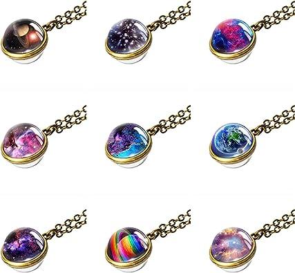NDJEWELRY Solar System Necklace Nebula Galaxy Planet Pendant Double Side Glass Crystal Ball Universe Necklace Handmade Jewelry Set