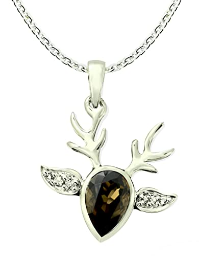 Amazon rb gems sterling silver 925 pendant necklace reindeer amazon rb gems sterling silver 925 pendant necklace reindeer design genuine gemstone with rhodium plated finish smoky quartz jewelry aloadofball Image collections
