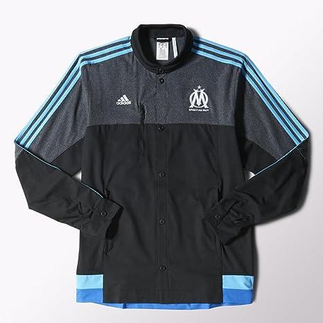 2014 2015 Marseille Adidas Anthem Jacket (Black): Amazon.es