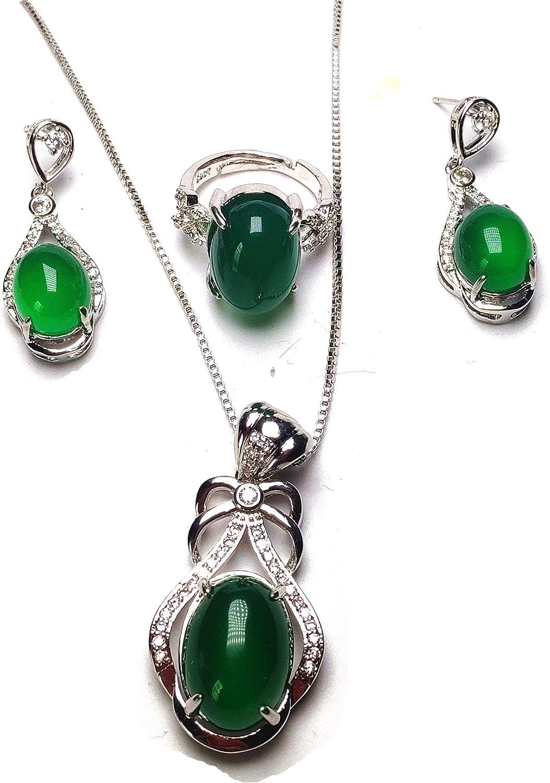 Yigedan Natural verde jade 18KGP 925 plata anillo colgante pendientes invierno joyería conjunto mujer