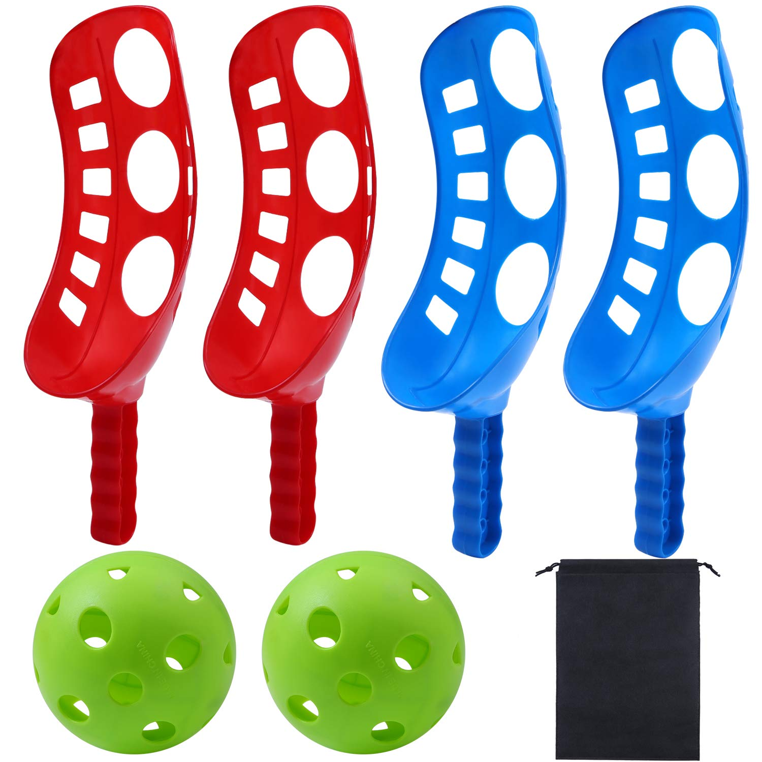 Cooraby Scoop Ball Game Scoop and Ball Toss Set Toss Catch Game Toy Lacrosse Racket Game for Kids and Adults with Storage Bag, 4 Scoop and 2 Balls