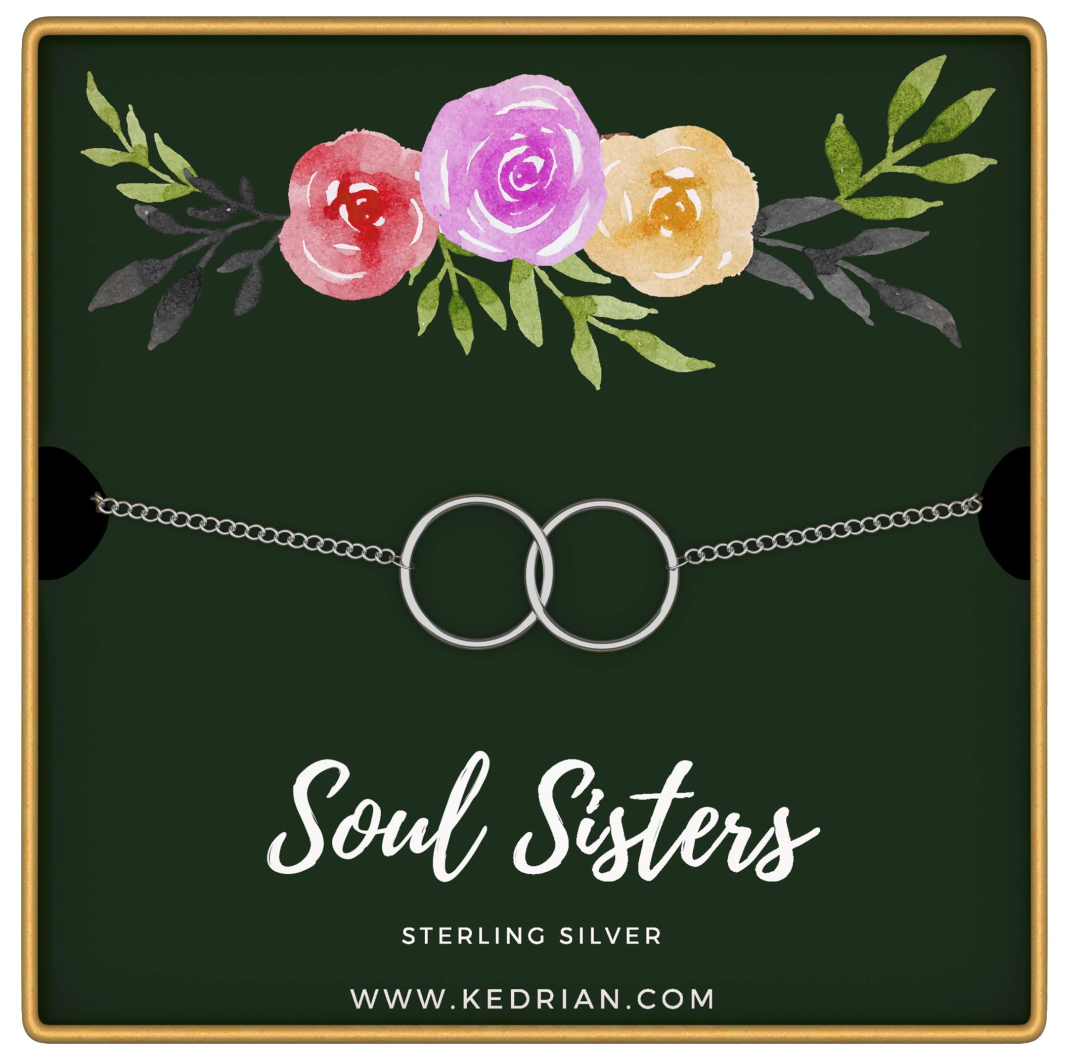 KEDRIAN Soul Sisters Bracelet, 925 Sterling Silver, Friendship Bracelet, Best Friend Bracelet, Best Friend Gifts For Women, Friendship Gifts For Women (Soul Sisters - Green) by KEDRIAN