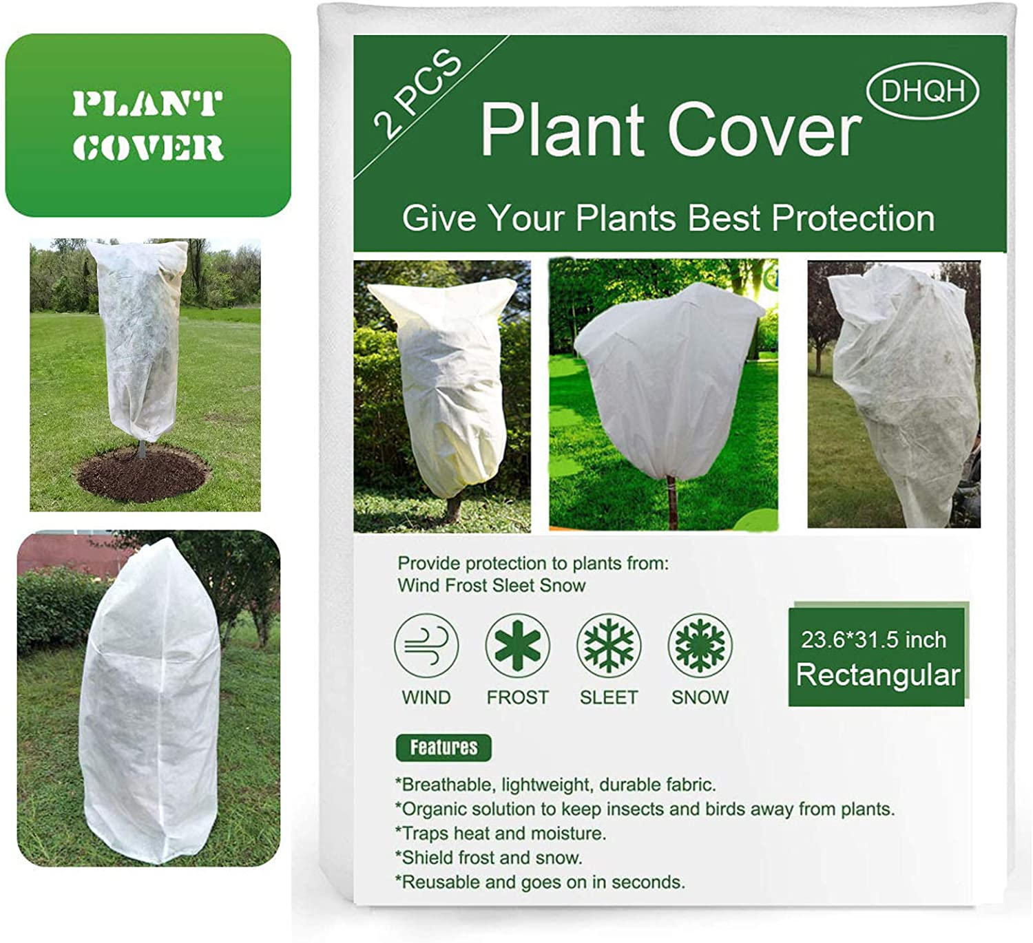 DHQH Plant Covers Freeze Protection,Upgraded Thickness Outdoor Plant Covers for Winter Frost Blanket,Anti-Freeze Jacket Warm Blanket for Shrub and Trees (19.6X27.5 inch,2Pack)…