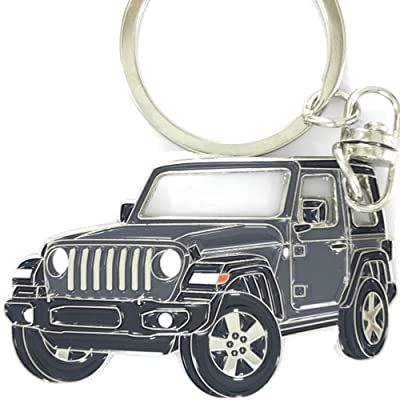 Wrangler Key Chain for car Accessories. Chrome Metal tag, Enamel. Replica. (Graphite): Office Products