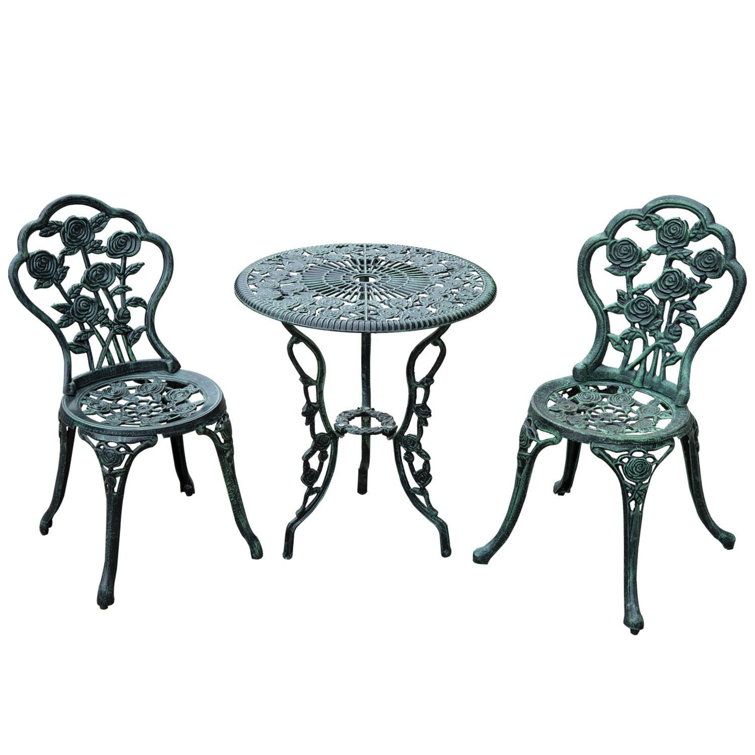 Outsunny 3 Piece Outdoor Cast Iron Patio Furniture Antique Style Dining Bistro Set