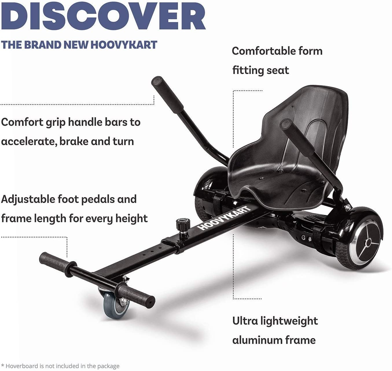 HoverBoard Not Included Self Balancing Scooter Safer For Kids Compatible with All Hoverboards Fastwheel Go Kart Conversion Kit for Hoverboards All Ages All Heights