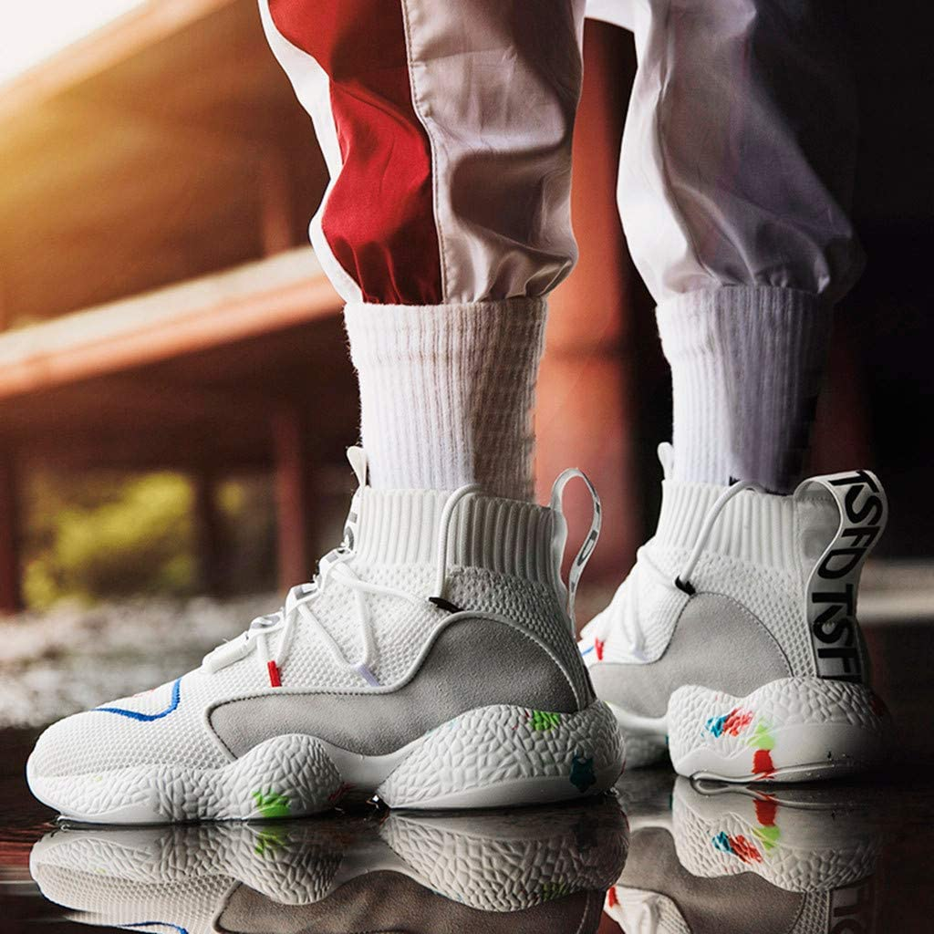 All White Sneakers for Women Men の His and Hers Casual Sneakers High Top Basketball Shoes Non Slip Trainers Streetwear