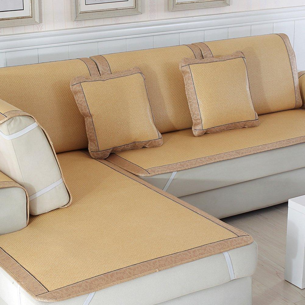 Estate telo copridivano Cuscino divano Tappetino In rattan salotto antiscivolo Copridivano-A 48 cm * 48 cm (2 federe) weiwei