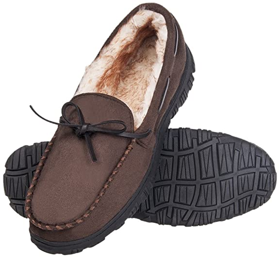 MIXIN Men's Microsuede Vamp and Rubber Sole Indoor Outdoor Moccasin Flat Slipper Shoes Dark Brown US 11