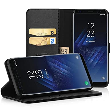 pretty nice 324bb fc8a8 EasyAcc Case for Samsung Galaxy S8, PU Leather Wallet Case Flip Cover with  Kickstand Card Holder Card Slots Black Compatible with Galaxy S8 - Black