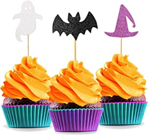 Patico Halloween Theme Glitter Cupcake Topper Cake Picks Decoration for Halloween Party Favors, Ghost Hat and Bats Food Picks - 24pcs