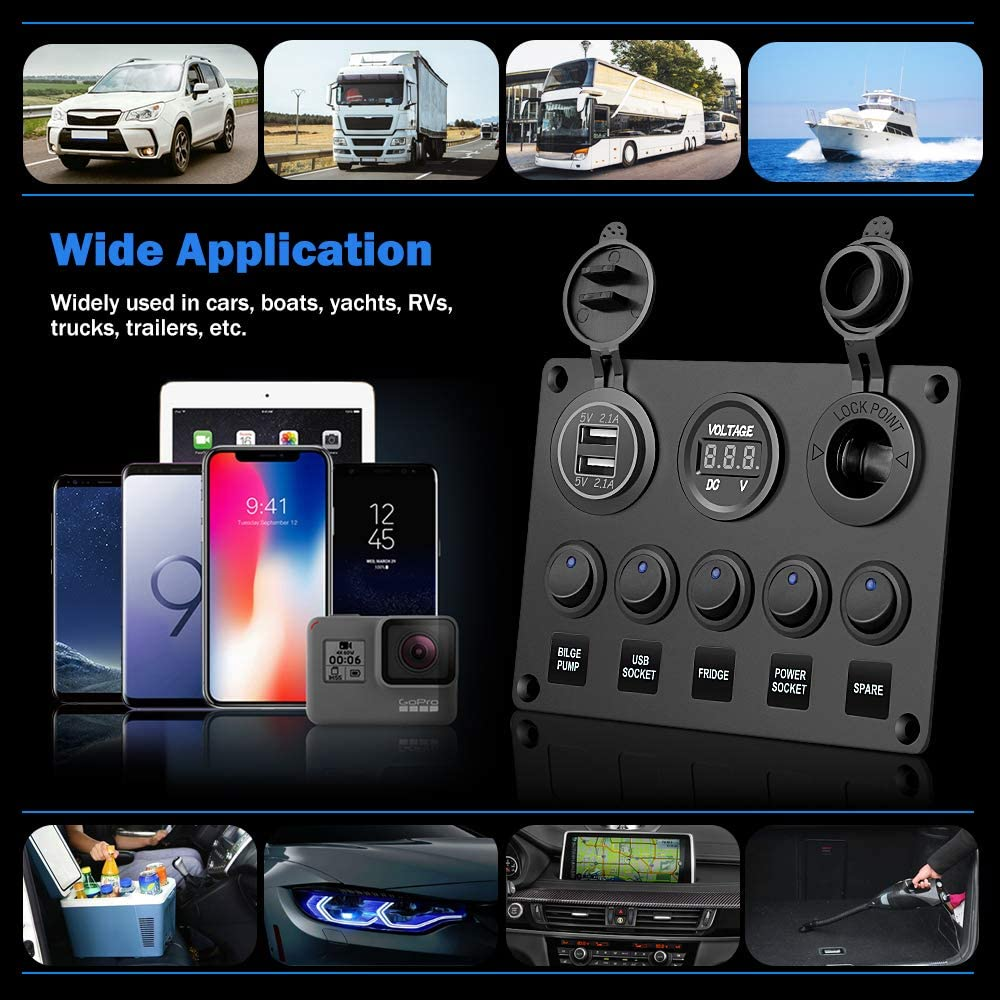 Toggle Switches//4.2A Dual USB Socket Charger//LED Voltmeter//12V Power Outlet Aluminum Panel Mount with 15A Fuses Pre-wired Waterproof for Car Boat Truck Marine RV Electop 5 Gang Rocker Switch Panel