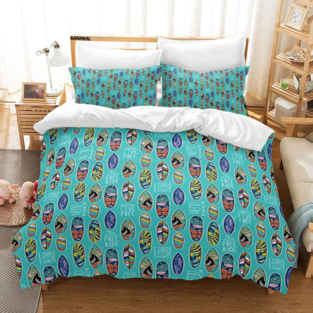 KANAKAL Surfboard 3PC Bedding Set Aloha Hawaii Live Free Ocean Water Sports Inspired Pattern Coastal Inspirations Theme Decor 1 Duvet Cover with 2 Matching Pillow Sham Multicolor Twin by KANAKAL
