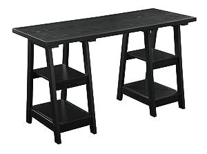 Convenience Concepts Double Trestle Desk, Black