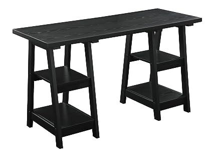 Amazoncom Convenience Concepts Double Trestle Desk Black Kitchen - Double trestle dining table