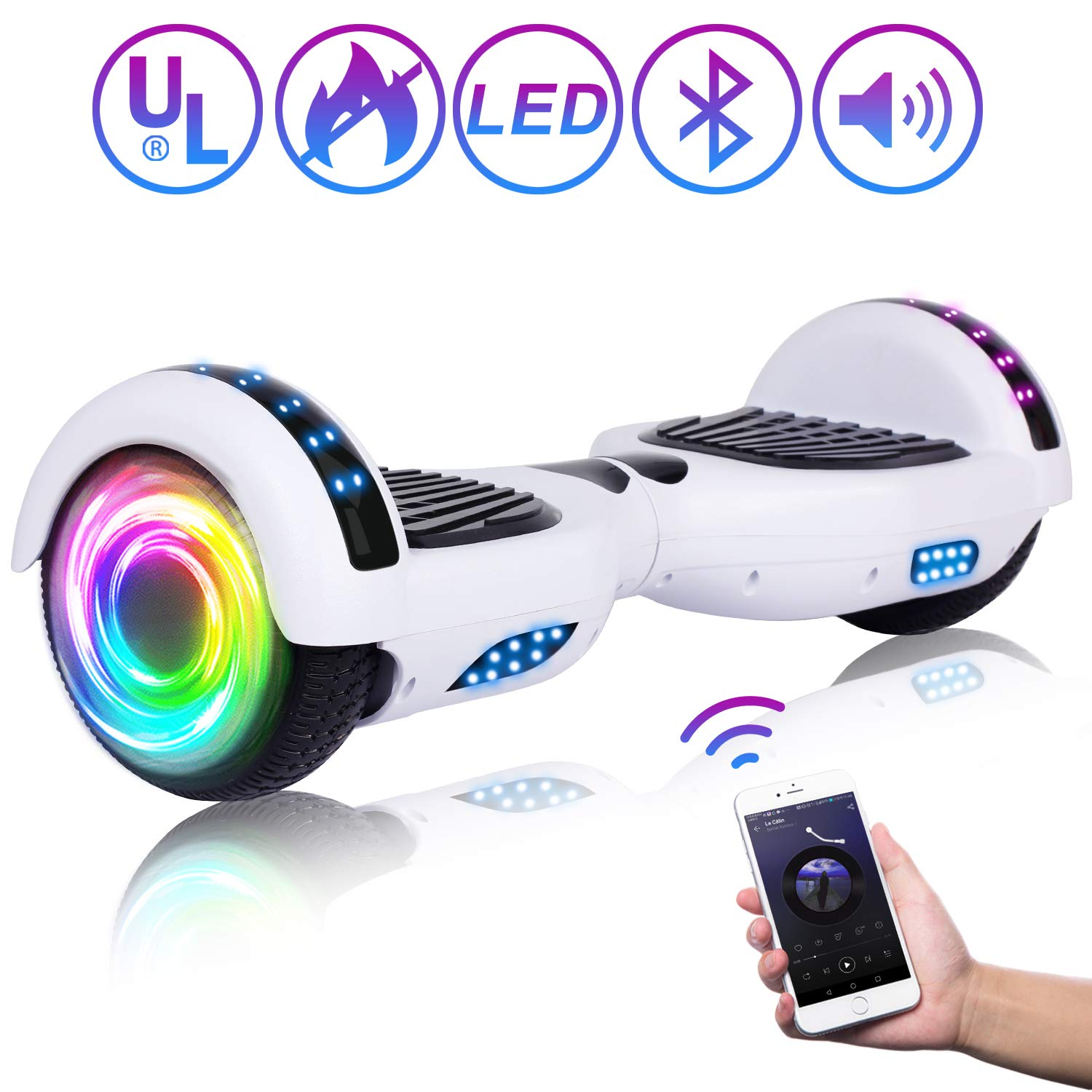 SISIGAD Hoverboard 6.5'' Self Balancing Scooter with Colorful LED Wheels Lights Two-Wheels self Balancing Hoverboard Dual 300W Motors Hover Board UL2272 Certified by SISIGAD