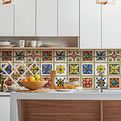 wall art (Confezione 12 Pezzi) adesivi per piastrelle formato 20x20 ...