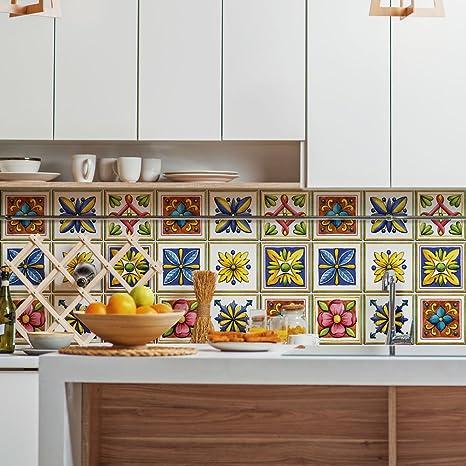 wall art (Confezione 54 Pezzi) Adesivi per Piastrelle Formato 10x10 ...