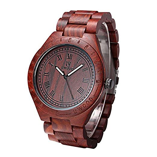 uwood Romano Número estilo vintage Rojo Reloj de madera de sándalo para hombre(Red)