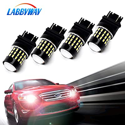 LABBYWAY Pack of 4 1000 Lumens Super Bright 3014 54-EX Chipsets 3056 3156 3057 3157 4157 LED Bulbs with Projector for Reverse Back Up Lights DRL Turn Signal Lights Tail Brake Lights, Xenon White: Automotive