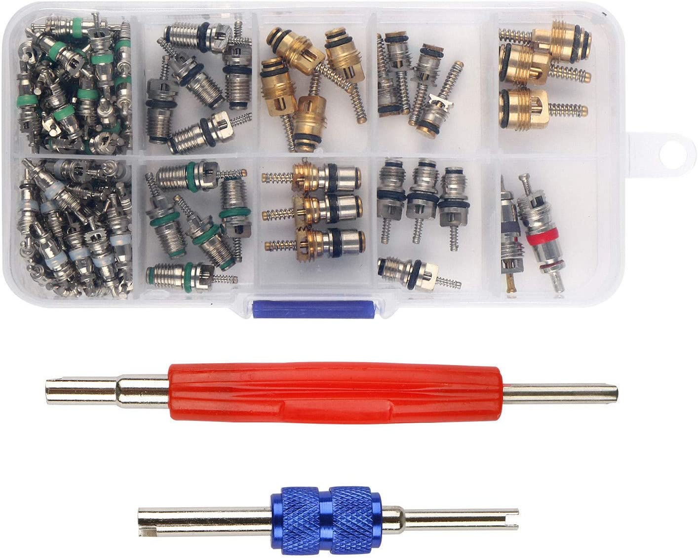 Car Air Conditioning Core Valves 102Pcs,R12 R134A Automotive A//C Valve Stem Cores w//Removal Tool for Car Air Contitionaing Repair