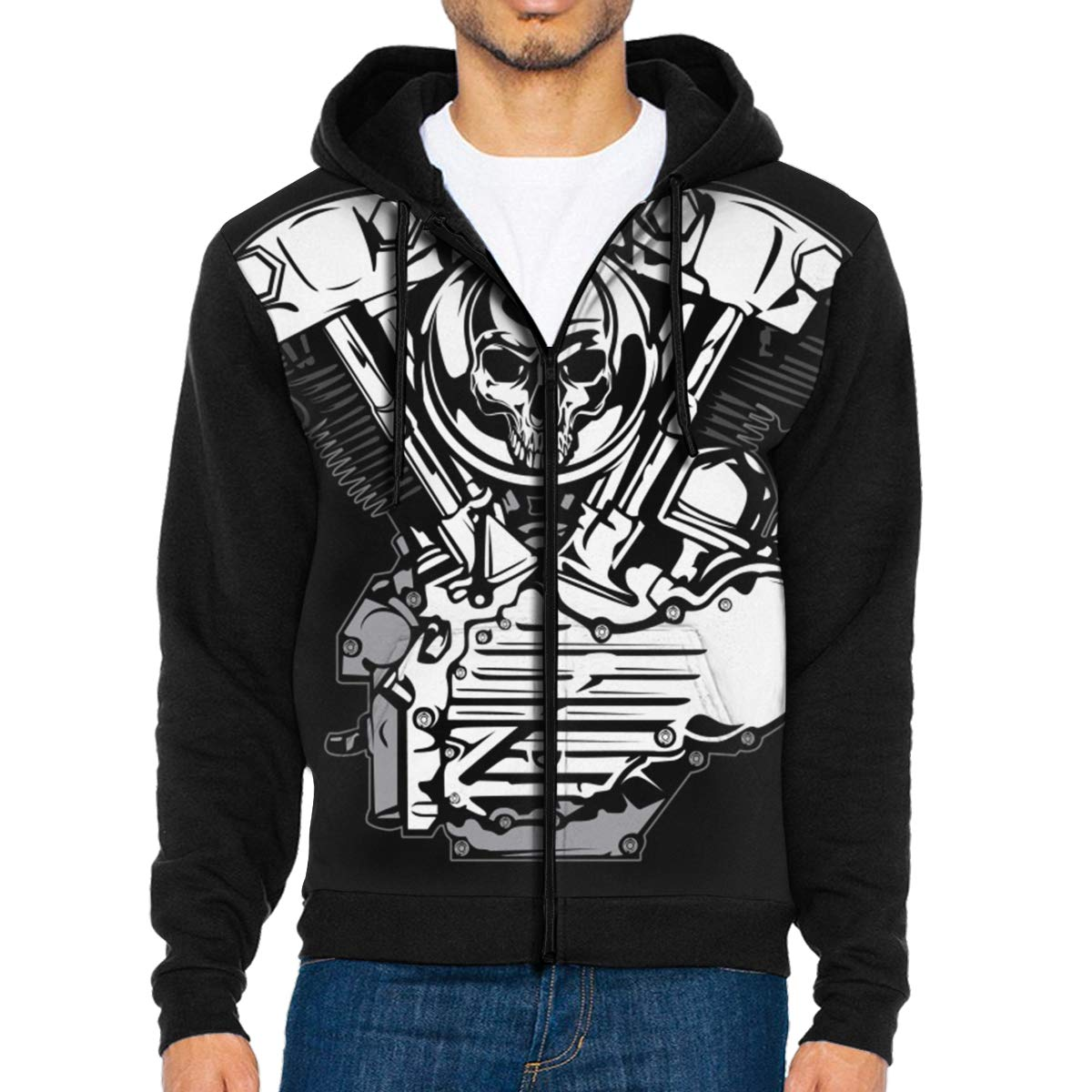 MHBGMYES Silver Motor with Skull Lightweight Mans Jacket with Hood Long Sleeved Zippered Outwear