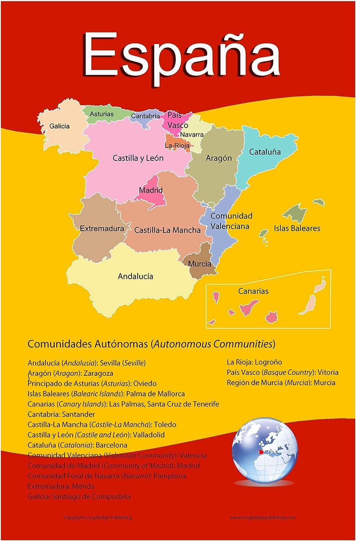 Lengua española escolar – Póster Mapa de España con sus 17 comunidades autónomas – Gráfico de pared para casa y aula – Español e Inglés texto: Amazon.es: Oficina y papelería
