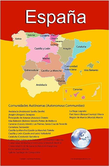 Lengua española escolar – Póster Mapa de España con sus 17 ...
