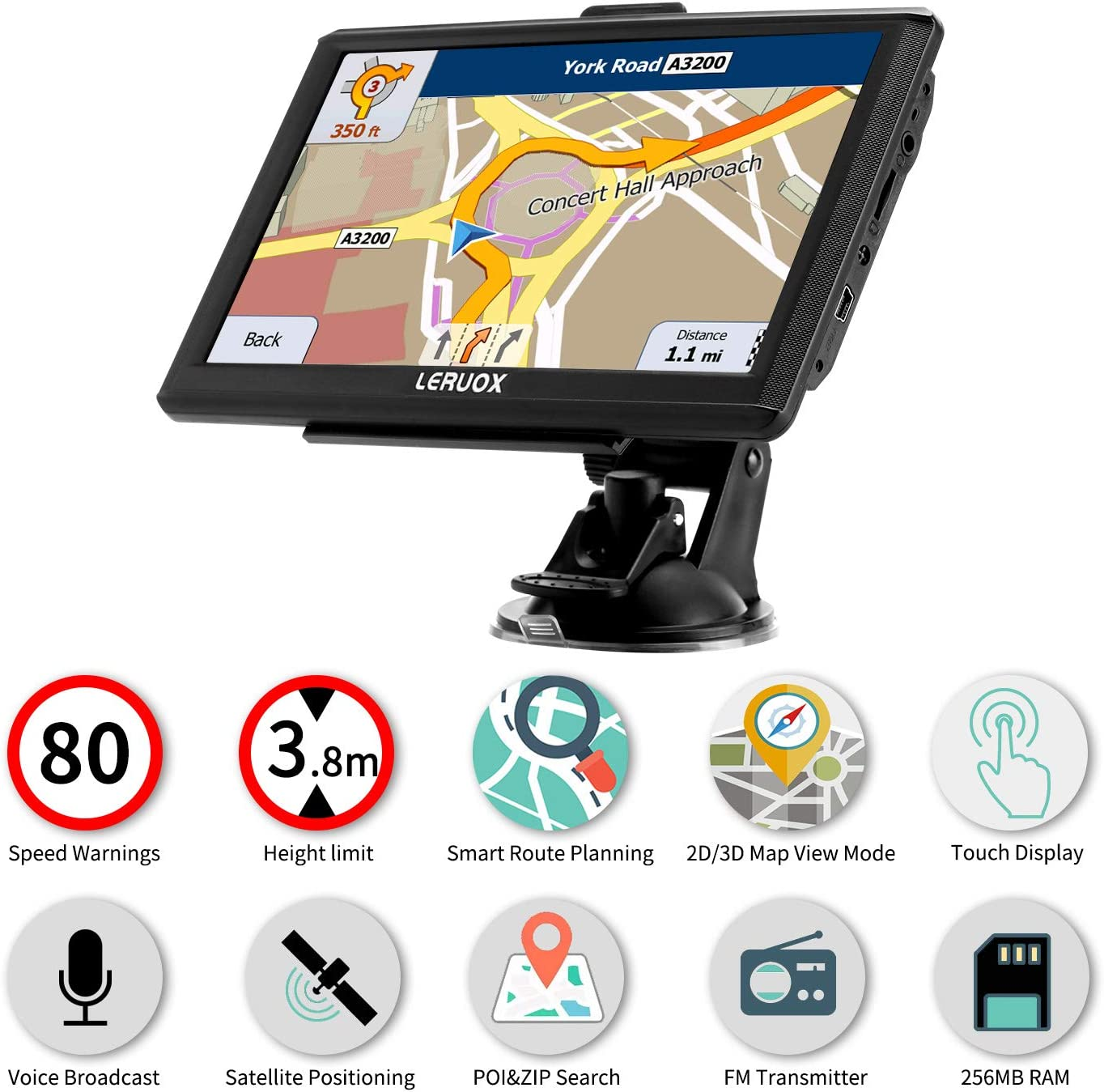 Truck GPS with Voice Turn Direction Guidance,Poi And Speed Camera Warning Free Lifetime Map Updates Leruox GPS Navigation for Car 7 inch The Latest 2020 North American Map Satellite Navigation System