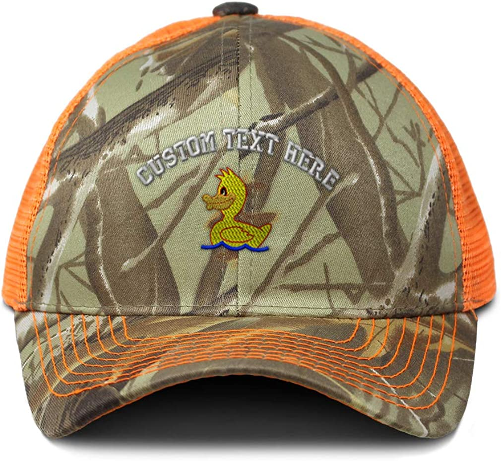 Custom Camo Mesh Trucker Hat Kids Yellow Duck Bath Embroidery Cotton One Size