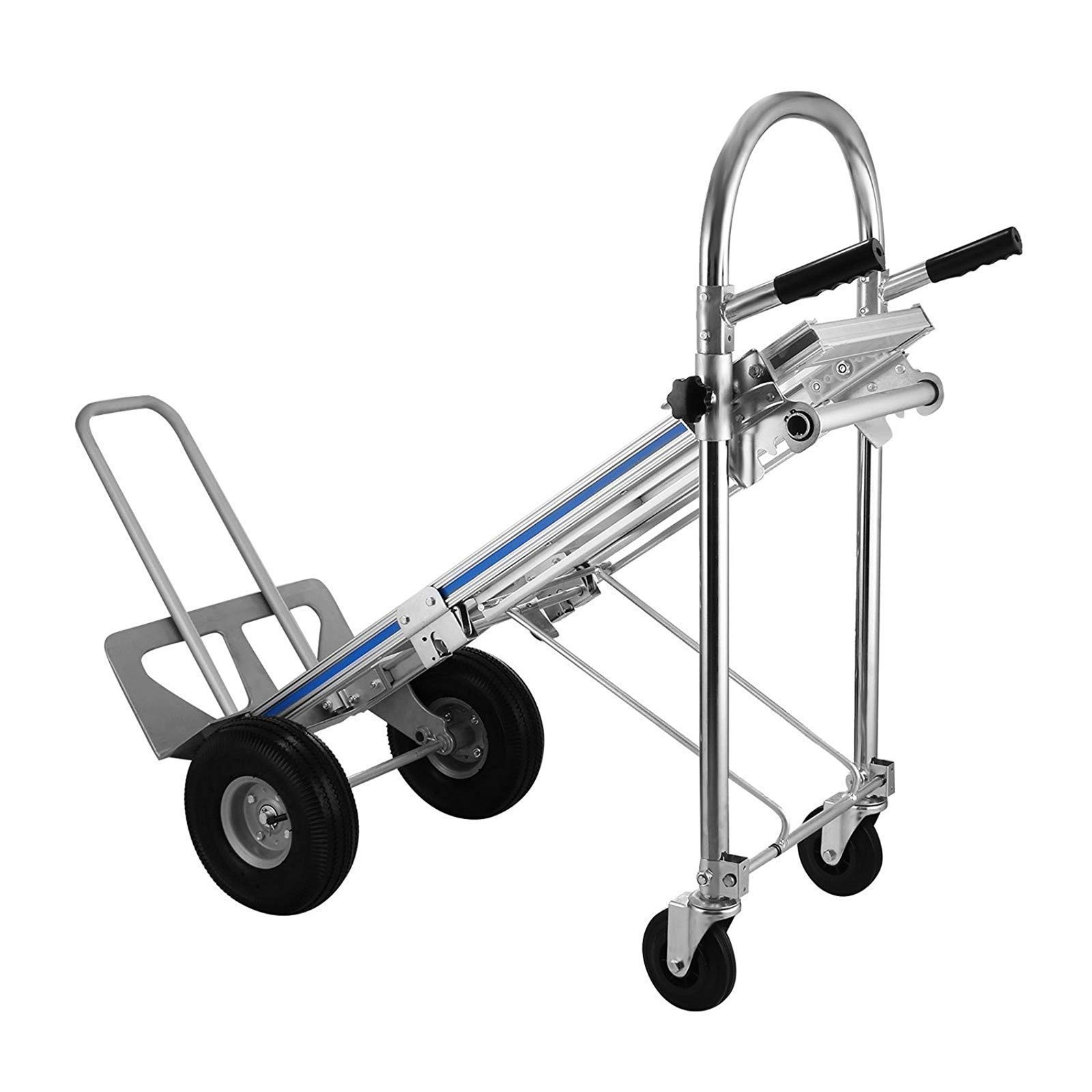 SHZOND Hand Truck 3 in 1 Convertible Hand Truck 770LBS Capacity Hand Truck Dolly 2 Wheel Dolly and 4 Wheel Cart with 10'' Pneumatic Wheels