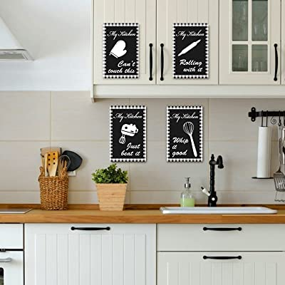 Buy 4 Pack Rustic Buffalo Plaid Wall Sign For Kitchen Wooden Kitchen Sign With Hooks Wall Decor Black White Vintage Wooden Signs For Farmhouse Kitchen Dining Room Restaurant Wall Decor 7 1 4 7 Pc Online In Sri
