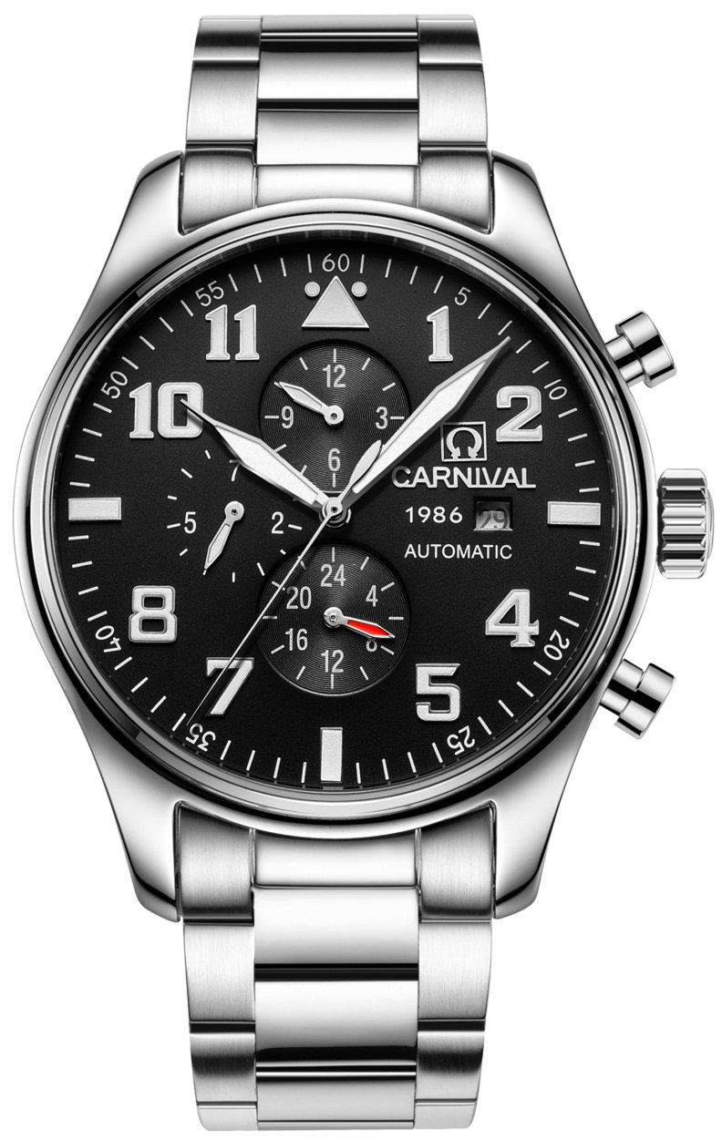 CARNIVAL Men's Complications Mechanical Watch Automatic winding Power Reserve (Black)