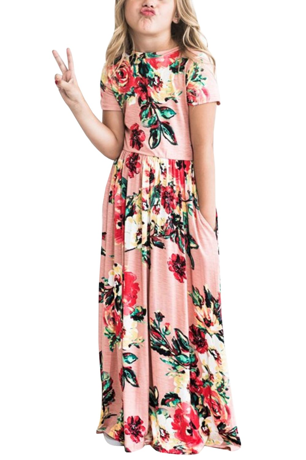 Baby Girls Dresses Toddler Floral Sleeveless Casual Summer Swing Long Maxi Dress with Pockets (11-12 Years, Pink)