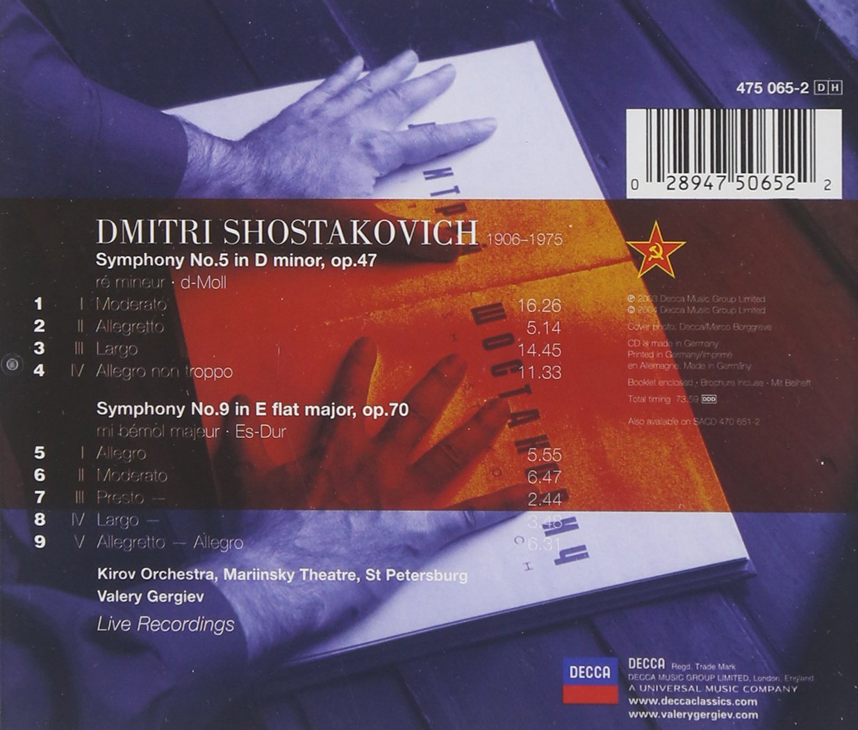 Shostakovich: Symphonies Nos.5 & 9 by Philips