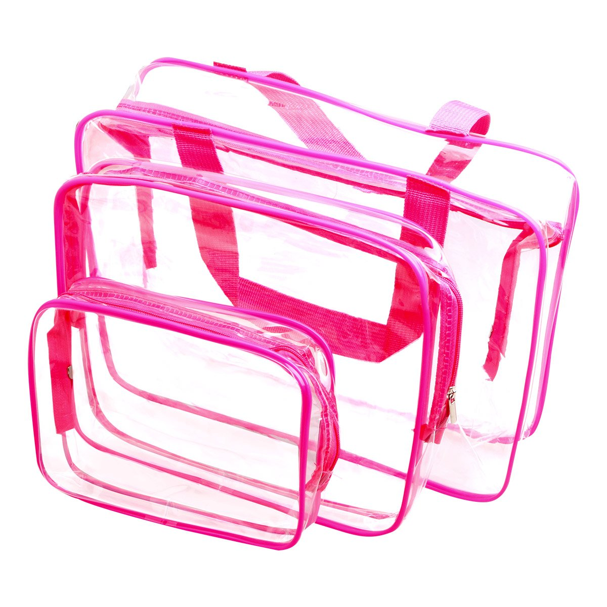 WIFUME 3 Set Clear Packing Cubes, PVC Waterproof Multi-function Hand Pouch Tote Bag Makeup Bag with Zipper and Travel to Buggy Bag for Toiletries Cosmetic and Bathroom Accessories Red