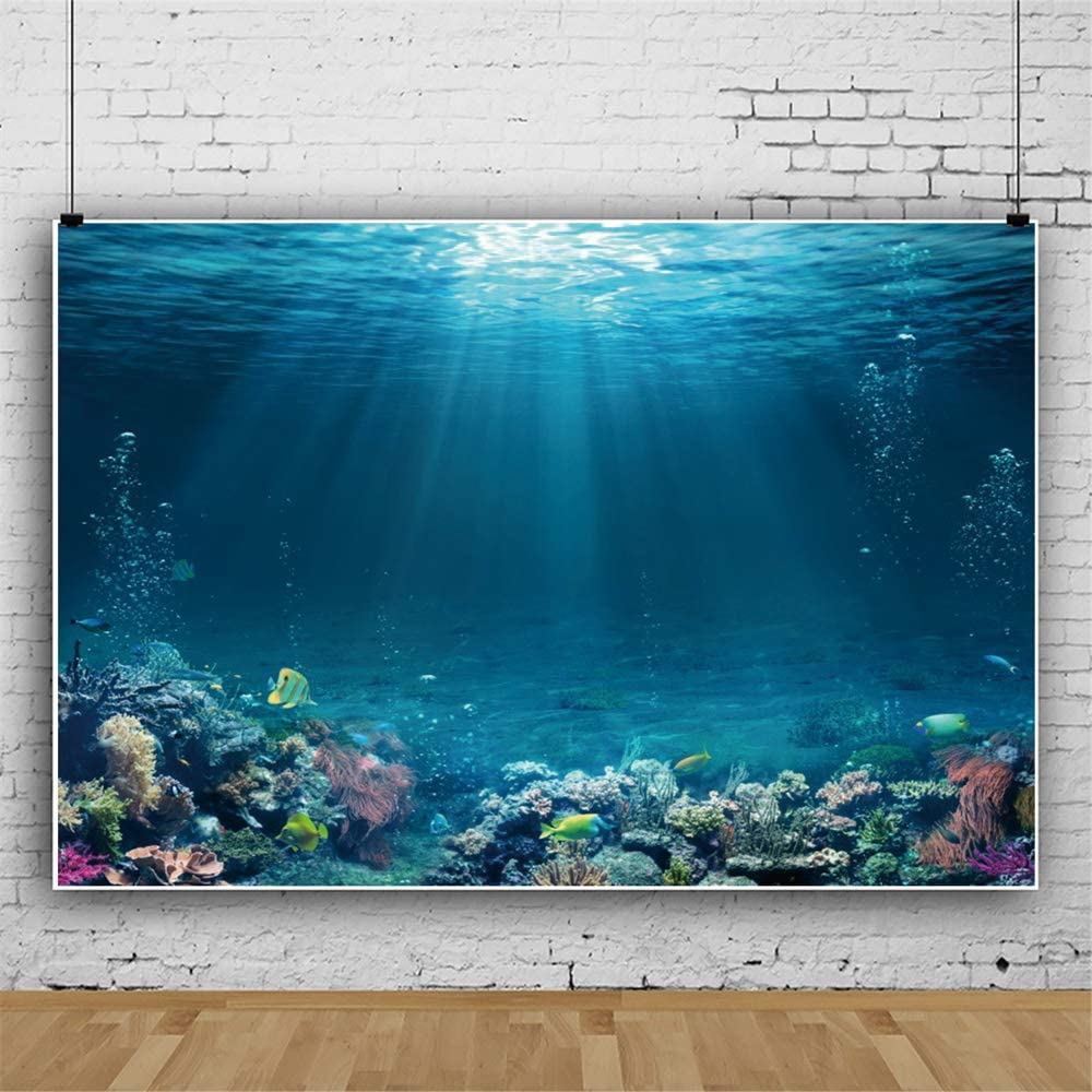 YEELE 12x8ft Underwater Scene Backdrop Tropical Seabed with Reef and Sunshine Photography Background Aquarium Event Decoration Birthday Cake Smash Banner Photo Studio Props Wallpaper