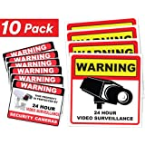 """Video Surveillance Sticker Sign Decal - 10 Pack - Home Business Camera Alarm System Stickers - (4)5½"""" x 5½"""" & (6)3"""" x 4"""" - Adhesive Under 24 Hours Security Warning Signs - Robbery & Theft Prevention"""