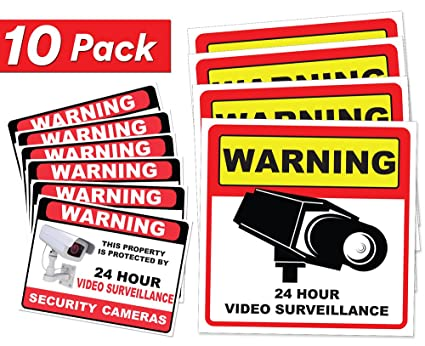 Video surveillance sticker sign decal 10 pack home business camera alarm system stickers