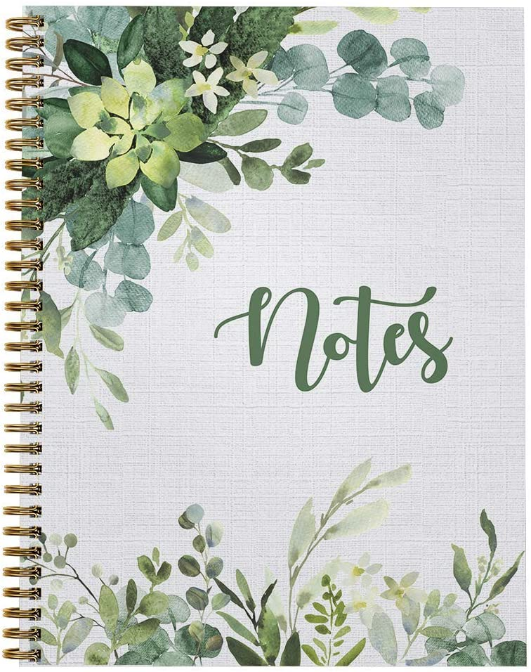 """Softcover Abundant Greenery 8.5"""" x 11"""" Spiral Notebook/Journal, 120 College Ruled Pages, Durable Gloss Laminated Cover, Gold Wire-o Spiral. Made in the USA"""