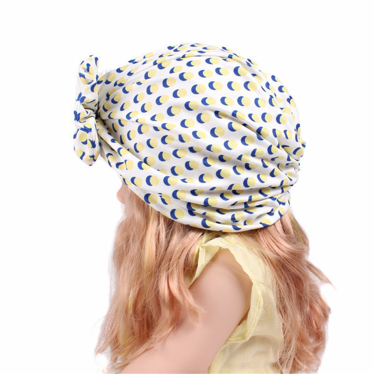 3e38793151d Amazon.com  Qhome Girls Vintage Big Bow Headbands Fruit Pattern Kids Hat  Girl Soft Cute Turban Kids Beanie Knotted Hair Band  Clothing