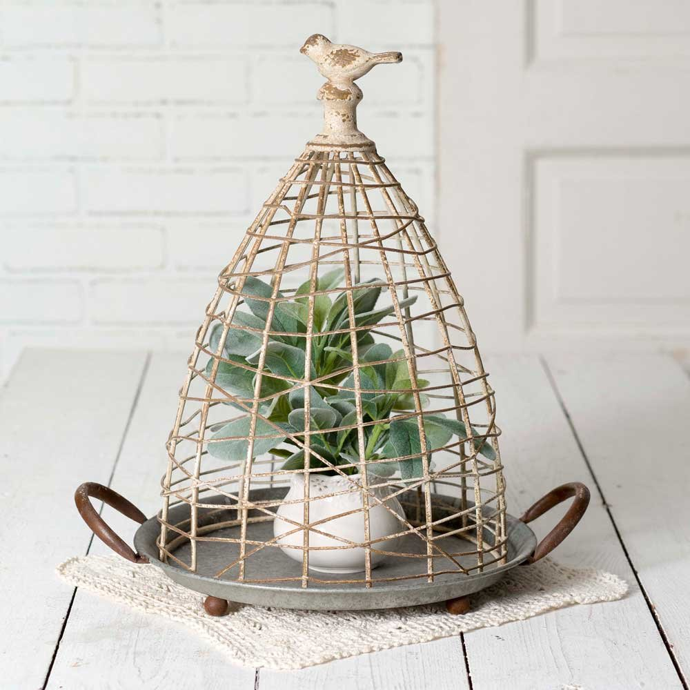 CTW Distressed Decorative Bird's Nest Cloche with Base