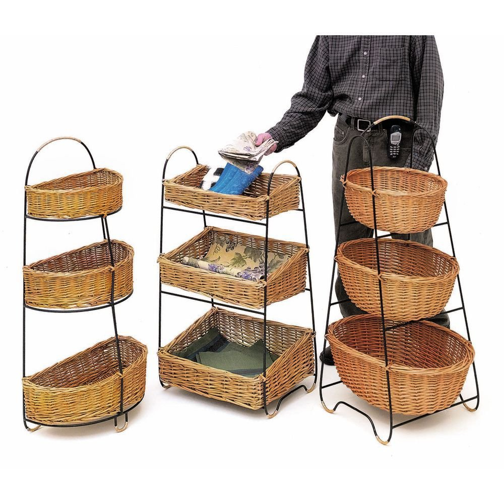 "3 Tier Merchandising Stand With Rattan Baskets Oval - 22""L x 15""D x 42""H"