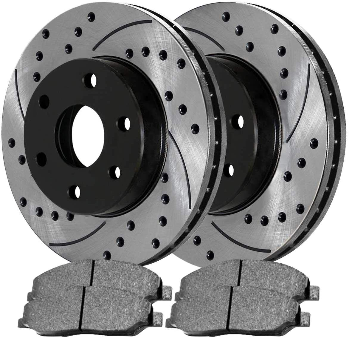 AutoShack SCD1083PR64111 Pair of 2 Front Driver and Passenger Side Drilled and Slotted Disc Brake Kit Rotors and Ceramic Pads Replacement for 2004-2006 2007 2008 Ford F-150 2006-2008 Lincoln Mark LT