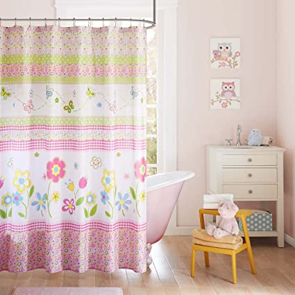 Spring Bloom Stripes Floral Kids Shower Curtain Casual Print Curtains For Bathroom 72