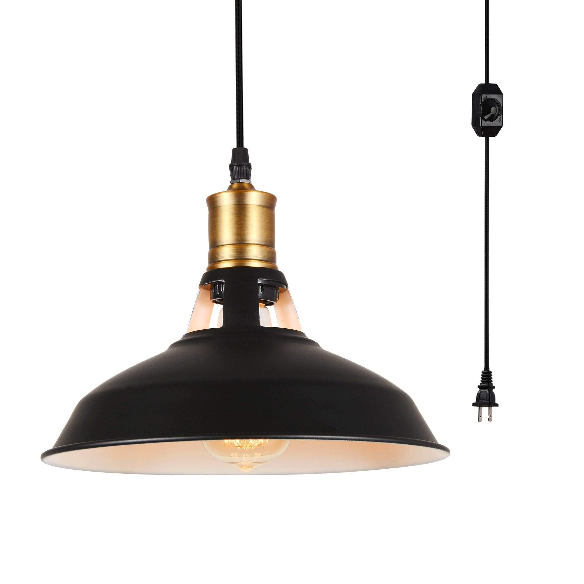 HMVPL Industrial Plug-in Pendant Lighting Fixtures with long Hanging Cord and Dimmer Switch, Vintage Farmhouse Hanging Chandelier Black Swag Island Lamp for Kitchen Dining Table Bedroom Garage Hallway