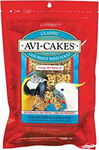 LAFEBER'S Classic Avi-Cakes Pet Bird Food, Made with Non-GMO and Human-Grade Ingredients, for Macaws & Cockatoos
