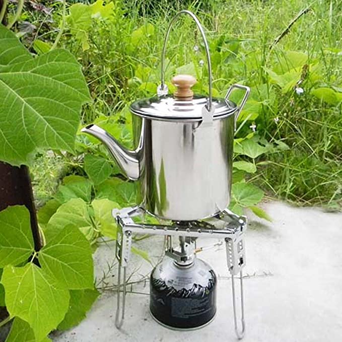 MagiDeal 2000ml Camping Portable Stainless Steel Water//Coffee//Tea Kettle Cooking Pot Outdoor Hiking Fishing Travel